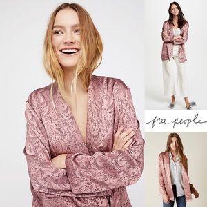 Free People Jacquard Blazer in Pink